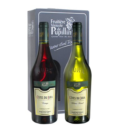 Vins du Jura FRUITIERE VINICOLE DE PUPILLIN, coffret carton de 2 bouteilles de 0.75l