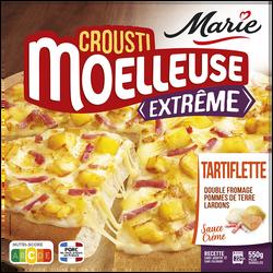 Pizza crousti moëlleuse extrème tartiflette (double fromage, pomme deterre, lardons, crème fraîche) MARIE, 550g