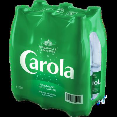 Eau de source pétillante CAROLA Verte, 6 bouteilles de 50cl