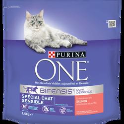 Croquettes pour chats sensibles au saumon et riz adulte PURINA ONEspécial 1,5kg