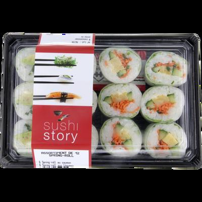 Sushi 6 spring roll au saumon 6 spring roll aux légumes, transformé enFrance, 12 pièces, barquette 330g