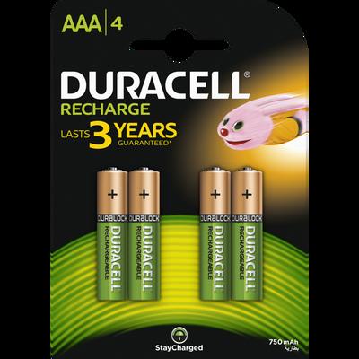 Piles DURACELL, rechargeables, HR03 750mah, 4 unités