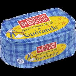 Beurre moulé aux cristaux de sel de guérande PAYSAN BRETON, 80%mg, 250g