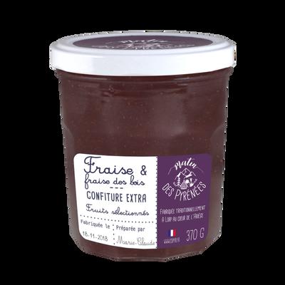 Confiture extra fraise et fraise des bois MATIN DES PYRENEES, 370g