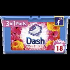 Lessive pods coquelicot&cerisier DASH 3en1, x18 soit 475,2g