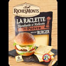 Tranches raclette poivre fromage pasteurisé pour burger,26% mg RICHEMONTS,140g