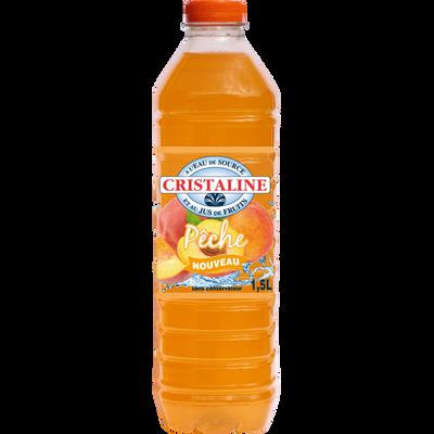 Eau aromatisée au jus de fruits pêche CRISTALINE, bouteille de 1,5l