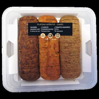 Plateau 3 cakes chorizo/tomate-feta/saumon, 3x160g