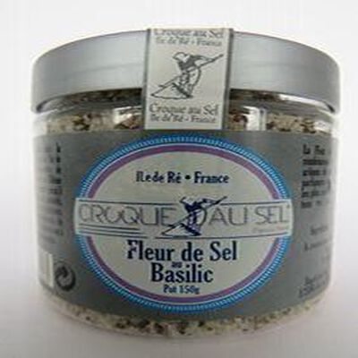 Fleur de sel au Basilic,pot 150 gr, Croque au sel.