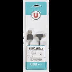 Câble USB 2.0 U rétractable, 1m, noir, connecteur 1 USB 2.0 mâle gris,connecteur 2 USB 2.0 mini 5 broches+micro B mâle gris