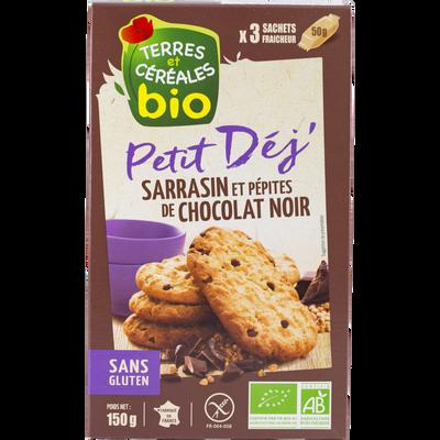 Biscuits pour petit dejeuner au sarasin et aux pépites de chocolat bio TERRE ET CEREALES, paquet de 150g