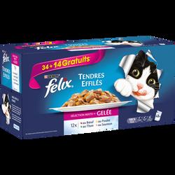 Sachets fraîcheur tendres effilés en gelée pour chat adulte au b uf authon au poulet et au saumon FELIX, 34x100g + 14 offerts
