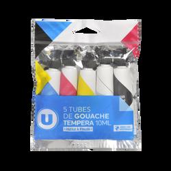 Tubes de gouache U, 10ml, coloris assortis, pack de 5