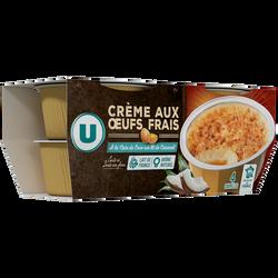 Crème aux oeufs noix de coco sur lit de caramel U 4x100g