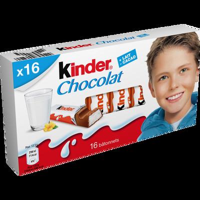 Chocolat  KINDER, 16 bâtonnets soit 200g