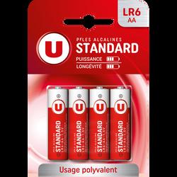 Piles U, Standard, LR6/AA, 4 unités