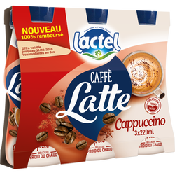 Boisson lactée UHT sucrée aromatisée au café et au cacao cappuccino LACTEL, 3 bouteilles de 220ml