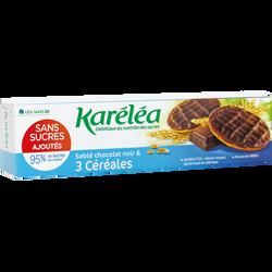 Sablés chocolat noir et 3 céréales sans sucres KARELEA, 128g