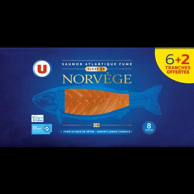 Saumon fumé atlantique Norvège U, 6 tranches + 2 offertes, 300g