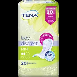 Serviettes pour incontinence discreet mini TENA LADY, 20 unités