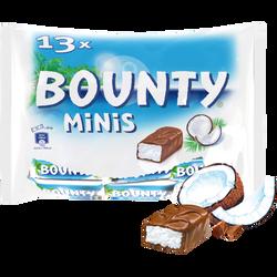 Barre chocolat au lait fourrée coco BOUNTY, minis sachet, 403g