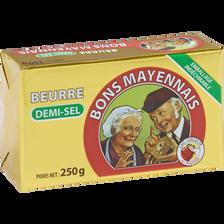 Beurre demi-sel BON MAYENNAIS, 80% de MG, 250g