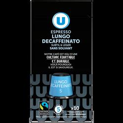 Café capsules U Espresso lungo décaféiné Compatible NESPRESSO, x10