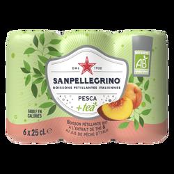 SAN PELLEGRINO bio à l'extrait de thé et au jus de pêche d'Italie, 6x25cl