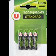 Piles U, rechargeable, HR03, 800 MAH, 4 unités