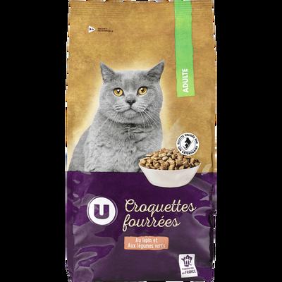 Croquettes fourrées pour chat adulte au lapin et légumes verts U,  paquet de 2kg