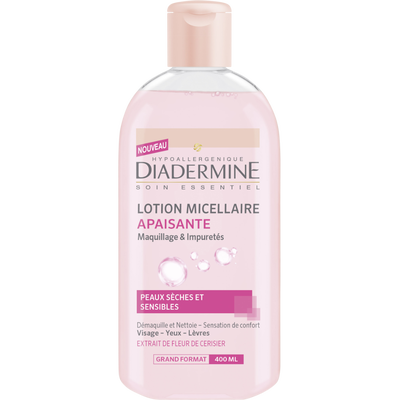 Lotion micellaire apaisante pour peaux sèches et sensibles, maquillageet impureté DIADERMINE, flacon de 400ml