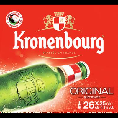 Bière blonde KRONENBOURG, 4,2°, 26 bouteilles de 25cl