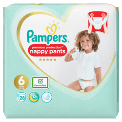 Culottes premium protection PAMPERS, 13-18kg geant Taille 6 x28