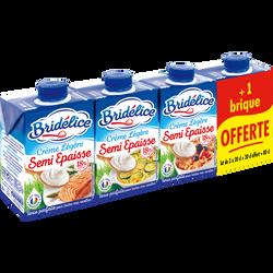 Crème UHT semi-épaisse légère BRIDELICE, 18% de MG, 3 briques de 20cl+ 1 offerte