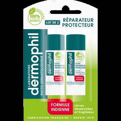Stick pour les lèvres phyto reparateur protecteur formule indienne DERMOPHIL, x2