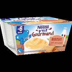 P'tit gourmand crème dessert biscuitée NESTLE, dès 6 mois, 4x100g
