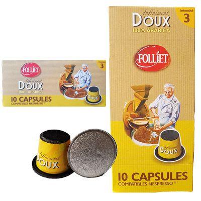 Capsules café ancienne doux 3 compat. nespresso FOLLIET, x10