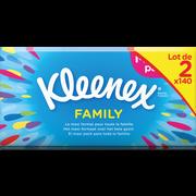 Kleenex Mouchoirs Blancs Maxi Pack Family Kleenex, 2 Boîtes De 140 Unités