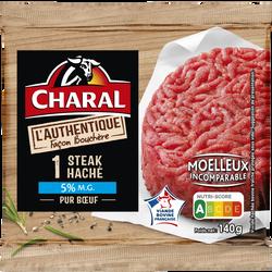 Haché de boeuf 5% mat.gr.authentique, CHARAL, France, 1 pièce, barquette de 140g