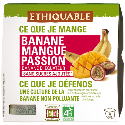 Compotes banane mangue passion sans sucres ajoutés 4 x 100g Ethiquable