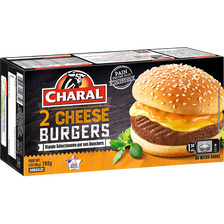 Cheeseburger CHARAL, 2x140g. Origine de la viande : France