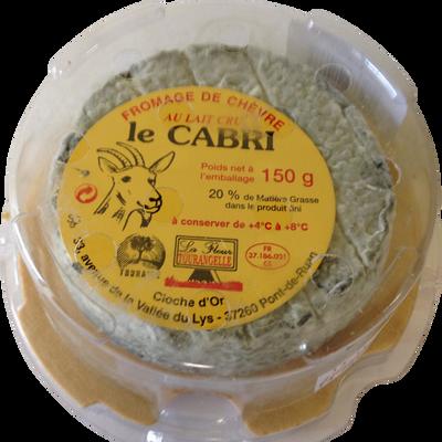 Cabri de Touraine cendre affiné au lait cru de chèvre, Fleur de Tourangelle, 21% de MG minicave, CLOCHE D'OR, 150g