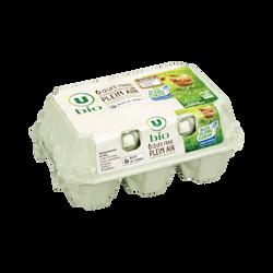 Oeufs poules plein air calibre mixte Bio U, boite de 6