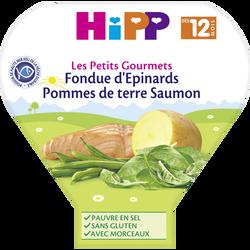 Assiette pour bébé épinards, pommes de terre et saumon, HIPP, dès 12 mois, 230g