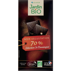 Tablette chocolat noir 70% cacao bio JARDIN BIO 100g