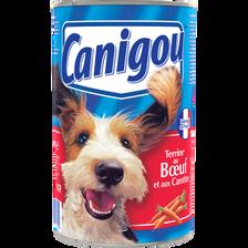 Aliment pour chien pâtée et morceaux à la viande et aux légumes CANIGOU, boîte de 1,2kg