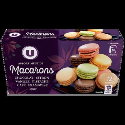 Assortiment de macarons congelés 6 parfums 12 pièces U 154g