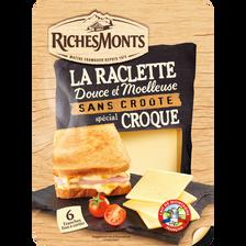 Tranches raclette fromage pasteurisé  sans croute pour croque monsieurRICHEMONTS, 26% de MG, 140g