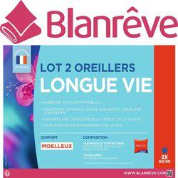 """OREILLERS """"LONGUE VIE"""" 60X60CM MOELLEUX BLANREVE X2"""