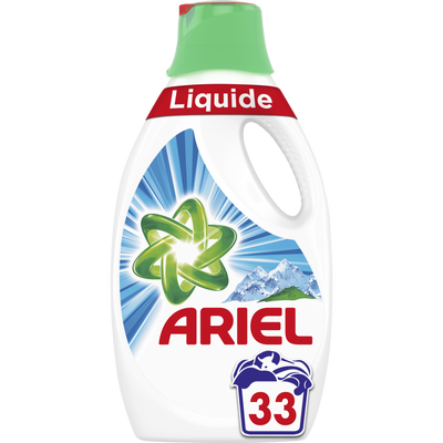Lessive liquide alpine ARIEL, 33 doses soit 1,815L